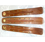 Wooden Incense Burner with Brass Inlay