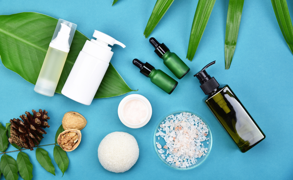 skin care products with herbal leaves