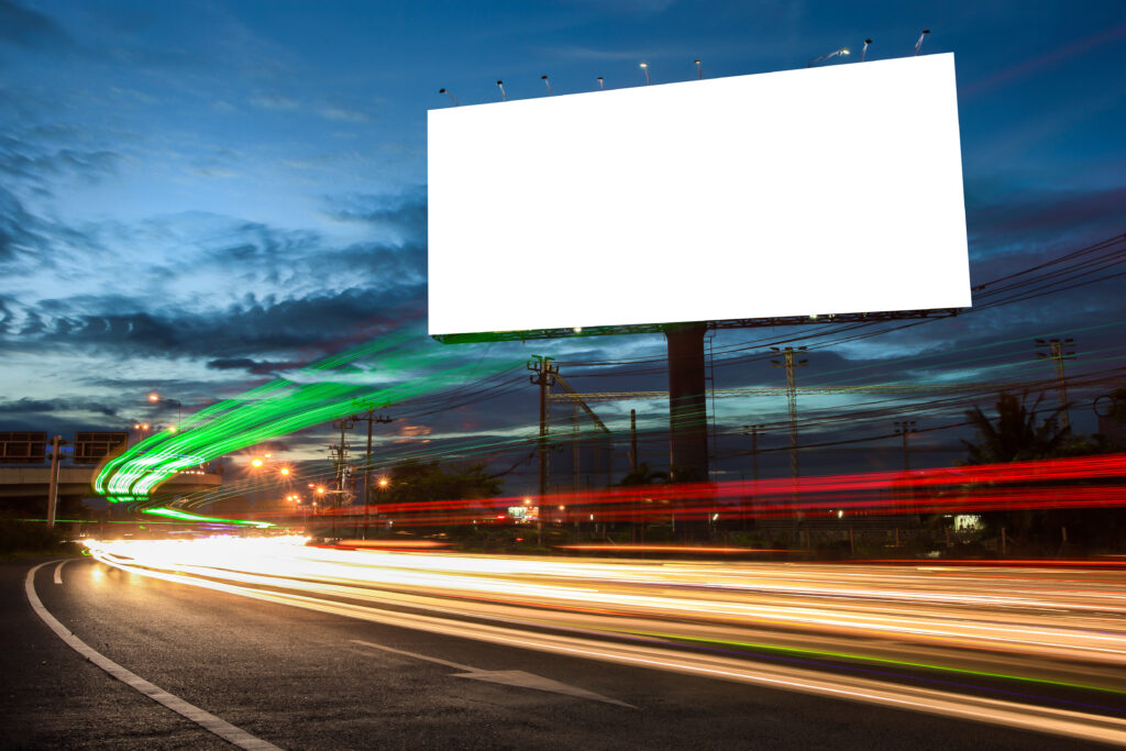 blank billboard busy highway