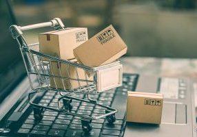 online shopping cart laptop